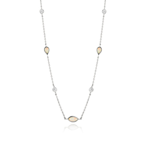 "Opal Color 13-15"" Necklace Sterling Silver with Rhodium Plating"