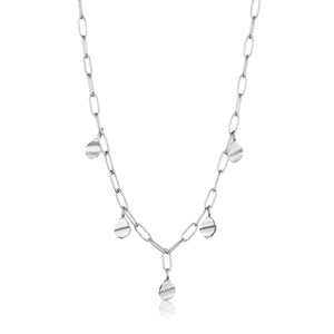 Rhodium Plated Sterling Silver Crush Drop Discs Necklace