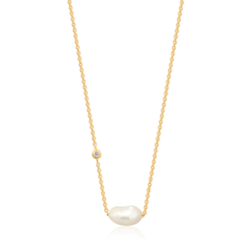 Gold Plated Sterling Silver Pearl Necklace