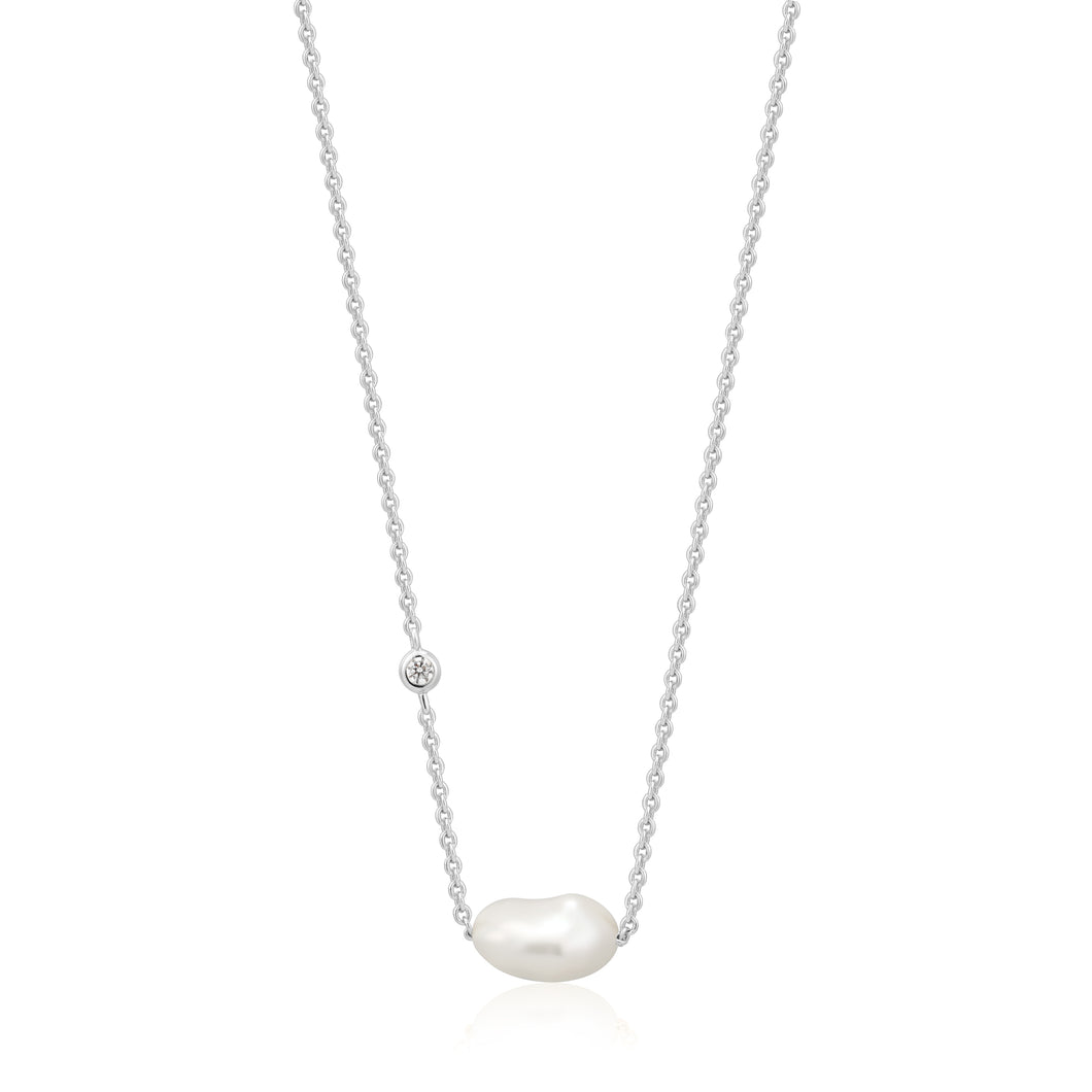 Rhodium Plated Sterling Silver Pearl Necklace