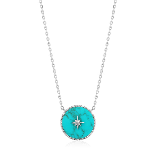 Rhodium Plated Sterling Silver Turquoise Emblem Necklace