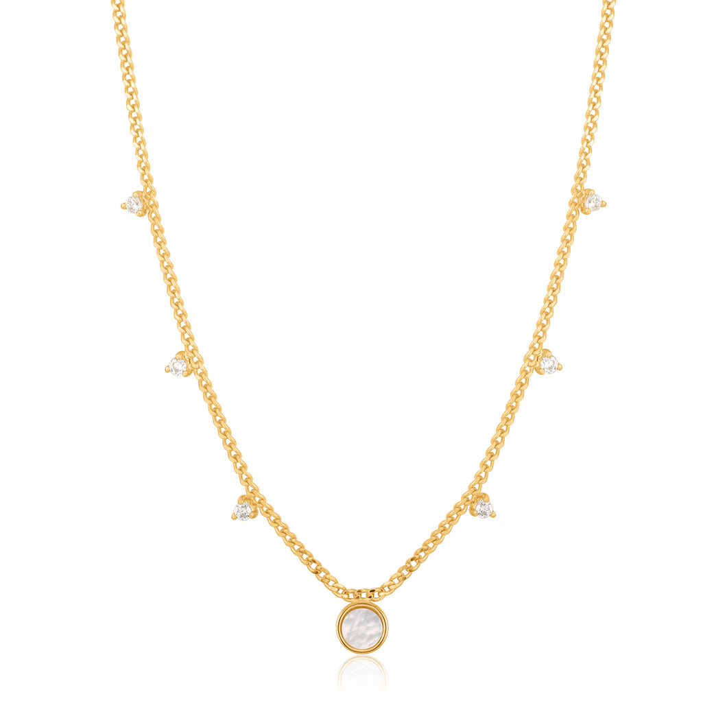 Gold Plated Sterling Silver Mother Of Pearl Drop Disc Necklace