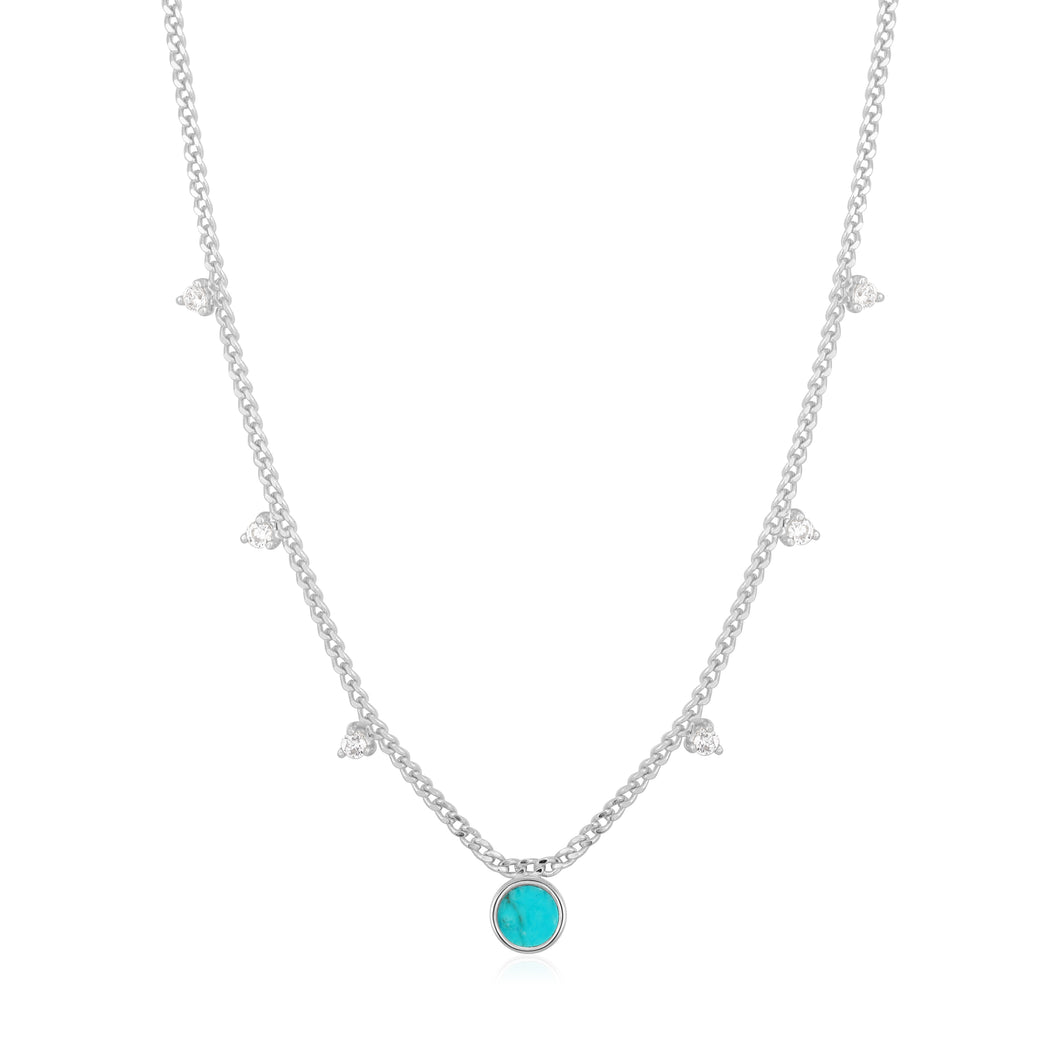 Rhodium Plated Sterling Silver Turquoise Drop Disc Necklace