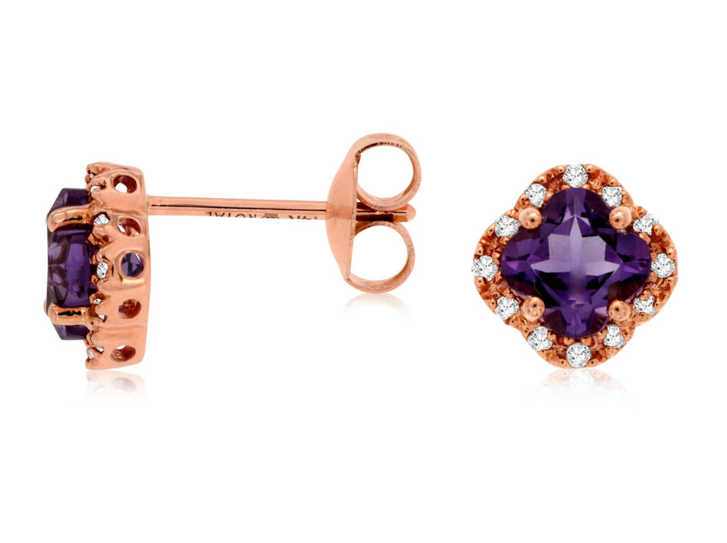 14K Rose Gold .80 Ctw Cushion Cut Amethyst and .10 Ctw Diamond Stud Earrings
