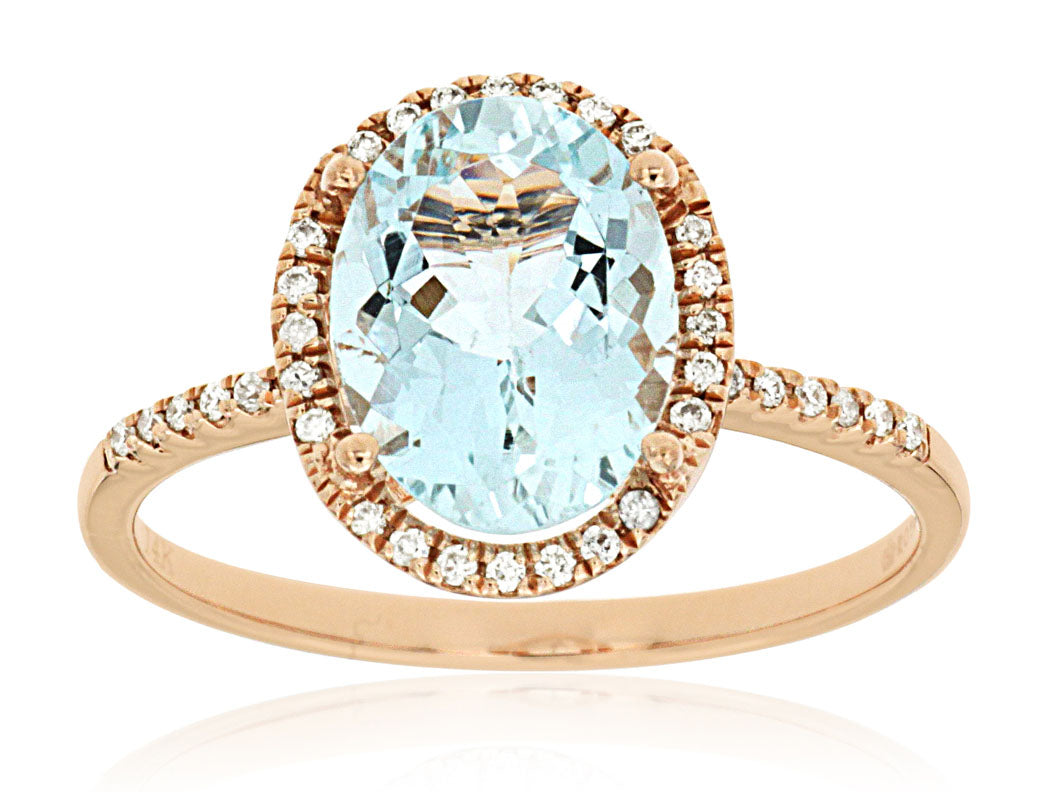 14K Rose Gold .14 Ctw Diamond and 2.0 Ct Aquamarine Halo Style Ring