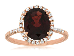 14K Rose Gold 3.90 Ct Oval Garnet and .21 Ctw Round Diamond Halo Style Ring