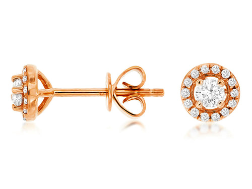 14K Rose Gold .25 Ctw Halo Diamond Stud Earrings with Friction Post