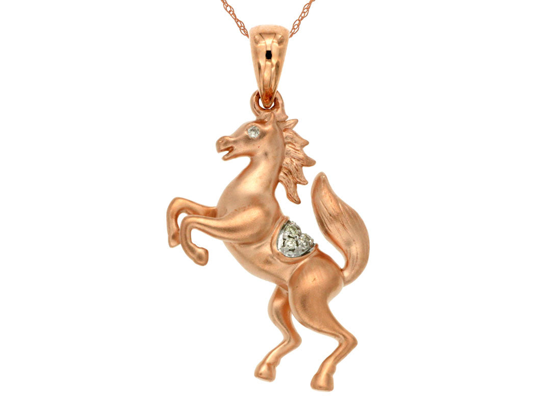 14K Rose Gold Horse Pendant with .03 Ctw Diamonds