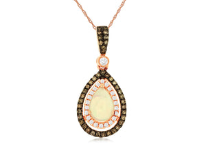 14K Rose Gold Diamond and Pear Shape Opal Pendant with Chain
