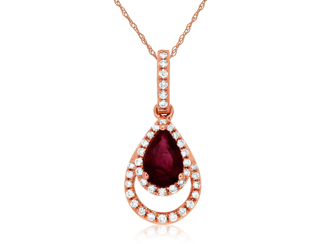 14K Rose Gold .11 Ctw. Diamond and .47 Ct. Pear Shape Ruby Drop Pendant