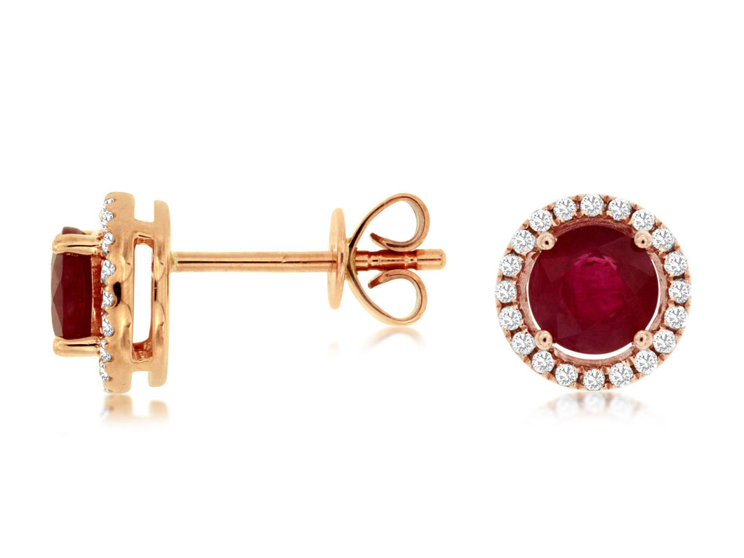 14K Rose Gold .94 Ctw Ruby and .15 Ctw Diamond Earrings with Friction Post