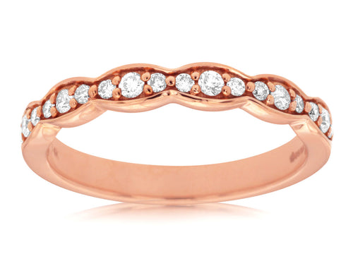 14K Rose Gold .25 Ctw Diamond Wedding Band