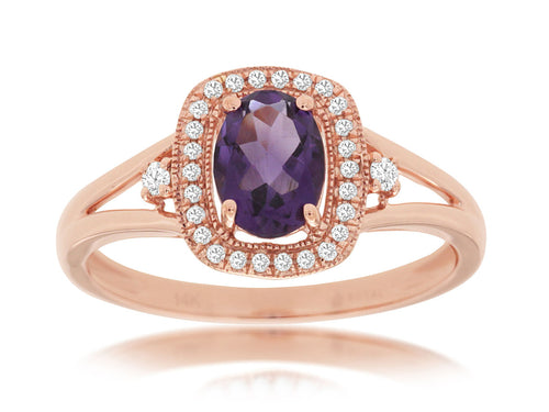 14K Rose Gold .70 Ct Amethyst and .10 Ctw Diamond Halo Style Ring