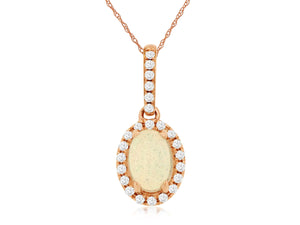 14K Rose Gold .12 Ctw Diamond and Oval Shaped Opal Pendant with Chain