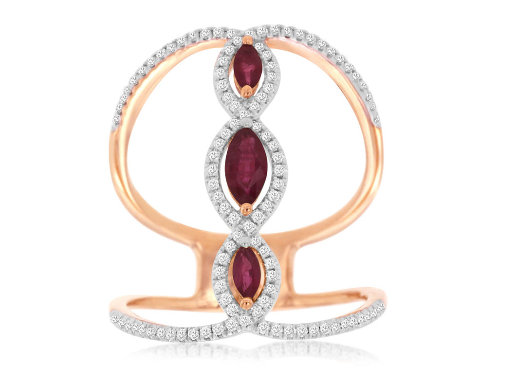 14K Rose Gold Ruby and Diamond Fashion Ring with Split Band and Connecting Bar