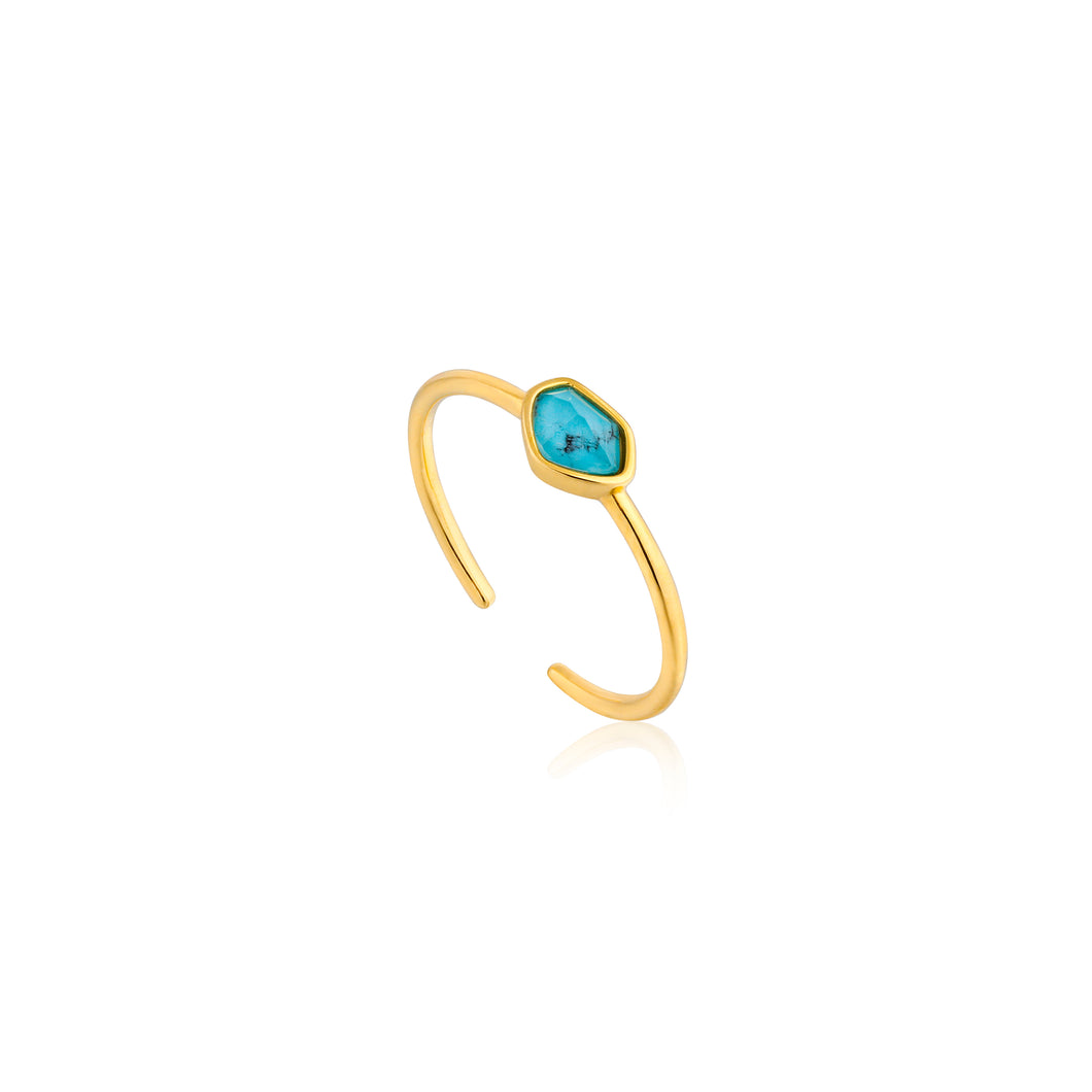 Turquoise Adjustable Ring Sterling Silover with 14K Gold Plating