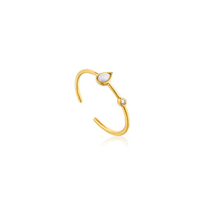 Opal Color Raindrop Adjustable Ring Sterling Silver with 14K Gold Plating