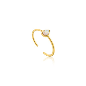 Opal Color Adjustable Ring Sterling Silver with 14K Gold Plating