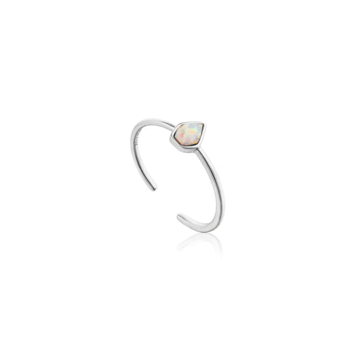 Opal Color Adjustable Ring Sterling Silver with Rhodium Plating