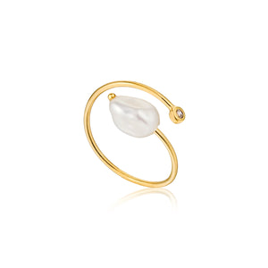 Gold Plated Sterling Silver Pearl Twist Ring