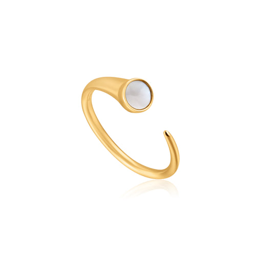 Gold Plated Sterling Silver Mother Of Pearl Claw Ring