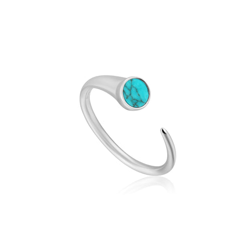 Rhodium Plated Sterling Silver Turquoise Claw Ring