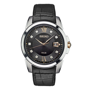 Seiko Le Grand Sport Black Dial Men's Watch with Leather Strap