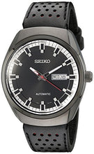 SEIKO Black Dial Black Leather Automatic Men's Watch SNKN45