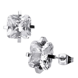 INOX Princess Cut 6mm Clear CZ Stud Earrings