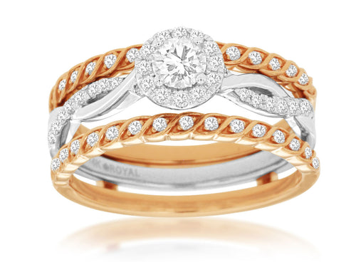 14K Rose Gold and White Gold .61 Ctw Diamond Engagement Ring Set
