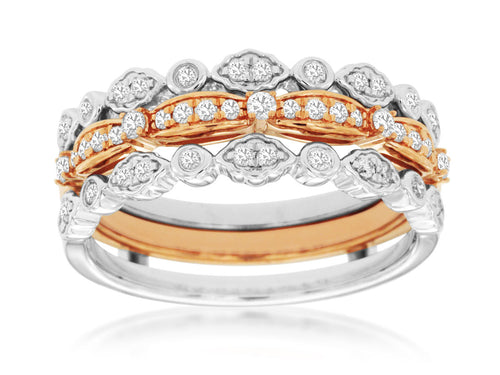 14K Tri-Color Gold Wedding and .34 Ctw Diamond Insert Ring