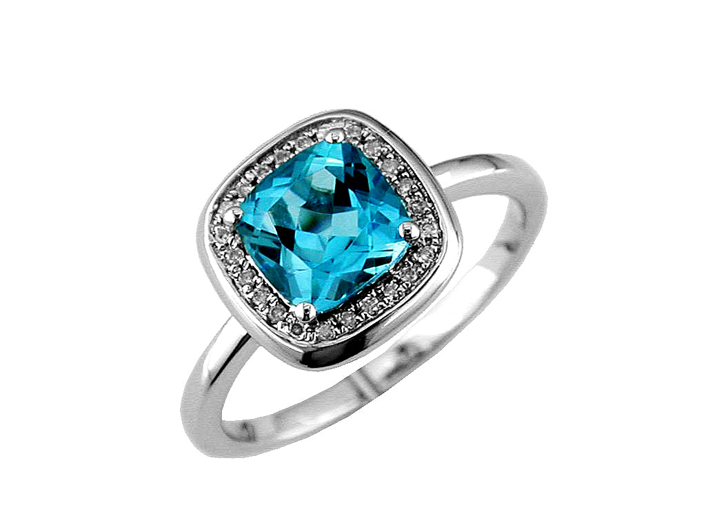 14KW 1.85 ct Blue Topaz and Diamond Ring