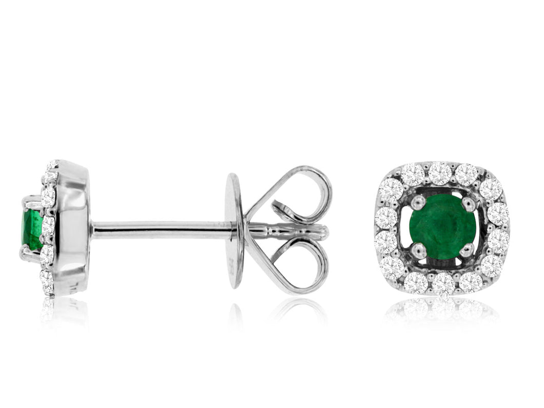 14K White Gold .25 Ctw Emeral and .18 Ctw Diamond Stud Earrings with Friction Post