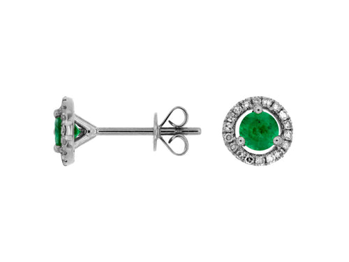 14K White Gold .70 Ctw Emerald and .15 Ctw Diamond Halo Earrings with Friction Post