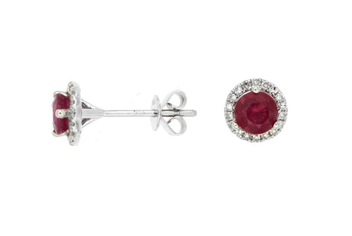 14K White Gold .80 Ctw Ruby and .14 Ctw Diamond Earrings with Friction Post