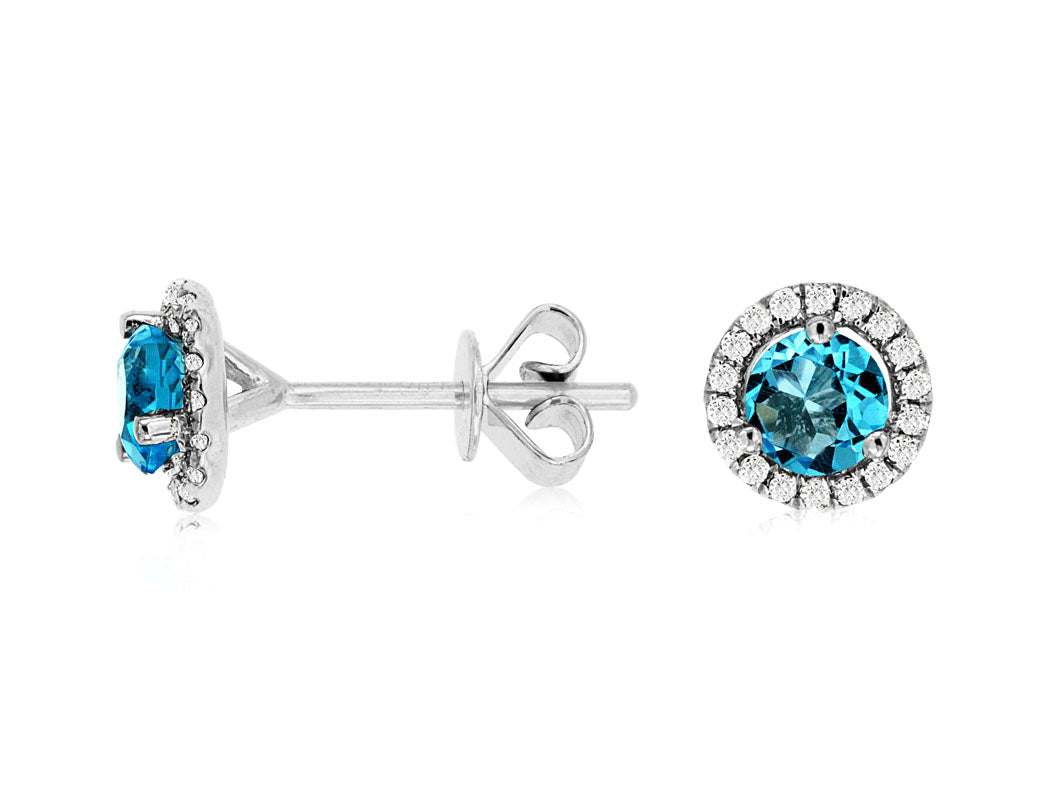 14K White Gold .16 Ctw Diamond and 1.6 Ctw Blue Topaz Halo Stud Earrings with Friction Back