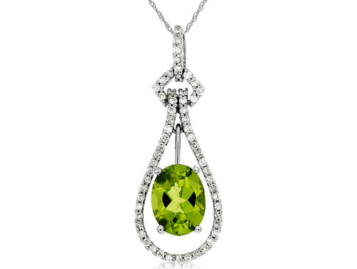 14KW 1.25 Ct Oval Peridot and .22 Ctw Diamond Tear Drop Shape Pendant