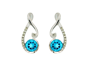 14K White Gold .09 Ctw Diamond and .90 Ctw Blue Topaz Earrings with Friction Post