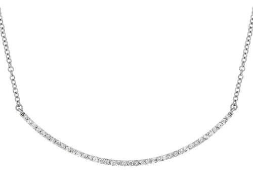 14K White Gold .05 Ctw Diamond Curved Bar Necklace