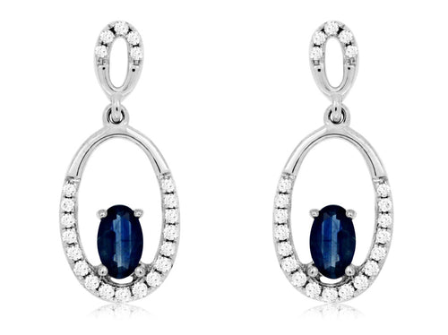 14K White Gold .60 Ctw Oval Sapphire and .20 Ctw Diamond  Oval Drop Earrings with Friction Post