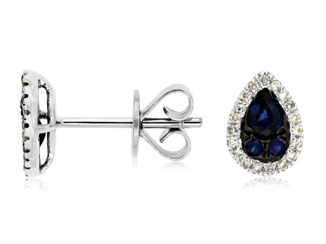 14K White Gold .50 Ctw Pear Shaped Sapphire and .12 Ctw Diamond Earrings with Friction Post