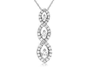 14K White Gold .31 Ctw Infinity Sign Diamond Pendant with Chain