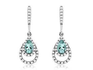 14K White Gold .32 Ctw Aquamarine and .20 Ctw Diamond Pear Shape Drop Earrings with Friction Post
