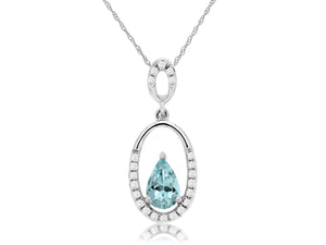14KW Pear Shape Aqua and Diamonds set in Oval Shaped Pendant with Chain