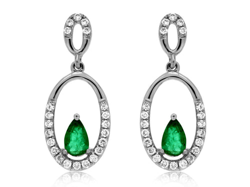 14K White Gold .60 Ctw Oval Emerald and .20 Ctw Diamond  Oval Drop Earrings with Friction Post