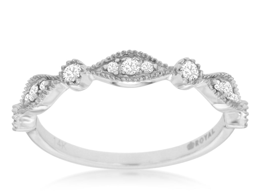 14K White Gold .20 Ctw Diamond Wedding Band