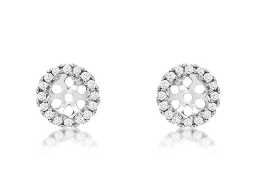 14K White Gold .13 Ctw Diamond Earring Jackets