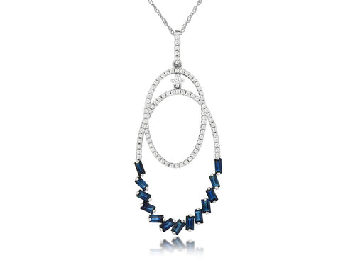 14K White Gold Diamond and Baguette Sapphire Pendant