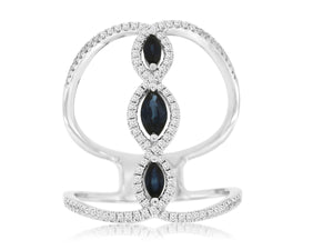 14K White Gold Sapphire and Diamond Split Band Ring