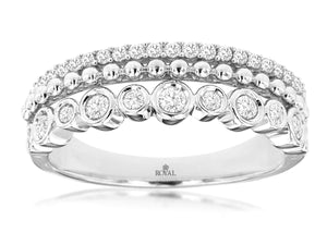 14K White Gold .40 Ctw Diamond 3 Row Wedding Band